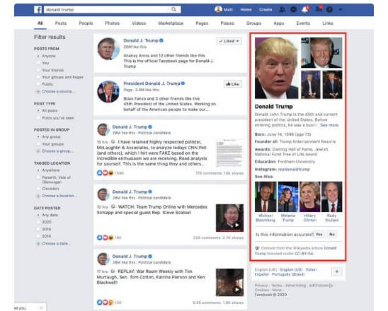 Facebook Search Results Now Showing Wikipedia Knowledge Panels